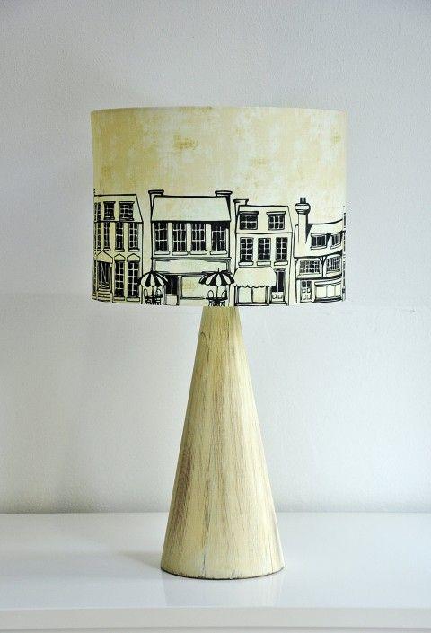 Stínítko na lampu Městečko světlo přírodní lampa osvětlení vintage dům město městečko patina lampička starobylé okrová stínítko širm stropní ulice domy stolní lampa