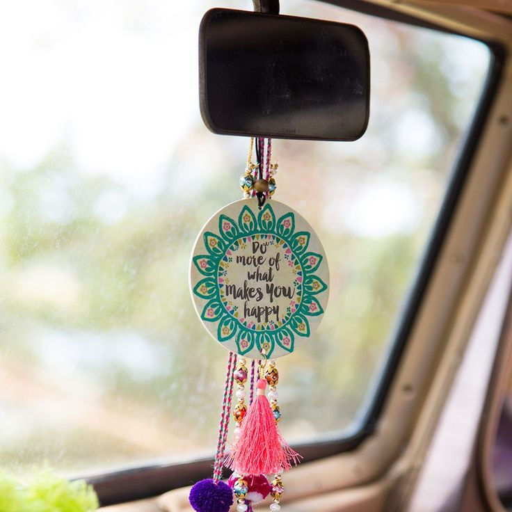 Tassel Air Fresheners - You'll love this set of two rectangular car air fresheners with elastic wood-bead hanger and tassel.Each one is scented with essential oils!