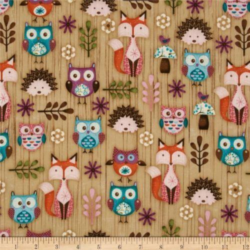Spx Woodland Critters Fabric Fox Owl Hedgehog Animals By