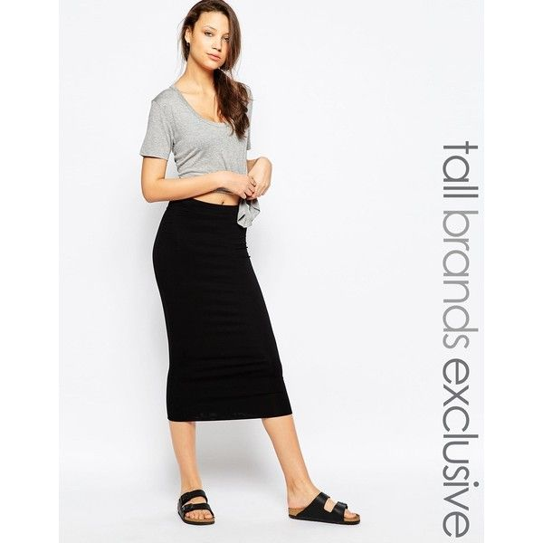 TTYA Midi Tube Skirt (€49) ❤ liked on Polyvore featuring skirts, black, bodycon midi skirt, tube skirt, high-waisted skirts, midi skirt and tall skirts