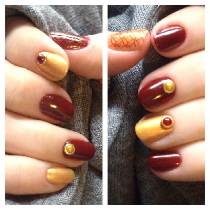 Dec 2014 gold and red mani