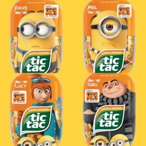 Tic Tac Minions Limited Edition 3.4oz Mints Flavor Pack of 4  Limited Edition - Lucy, Gru, Mel & Dave  Despicable Me 3 Banana & Tangerine - A fruity and tangy combo!  Product includes figure printing of the new movie characters on the mints!