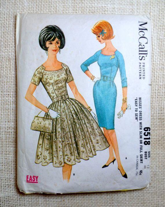 Винтажная Бюст 6518 Макколла 32 1960-х платье реглан юбка пин-ап Ретро рокабилли…