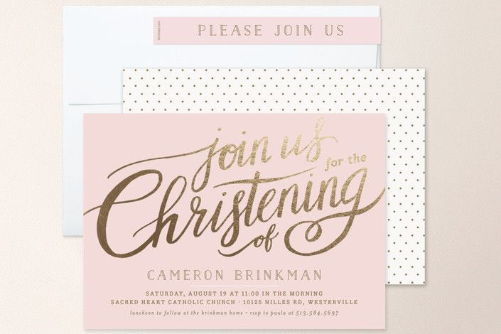 Heartfelt Foil-Pressed Baptism and Christening Invitations