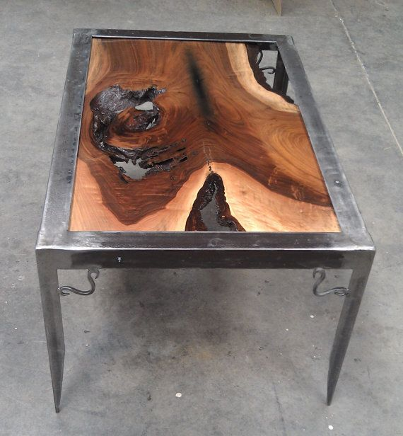 Walnut And Metal Table With Glass Top