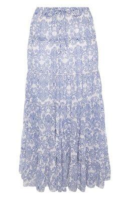 Lange chiffon rok met blauwe print