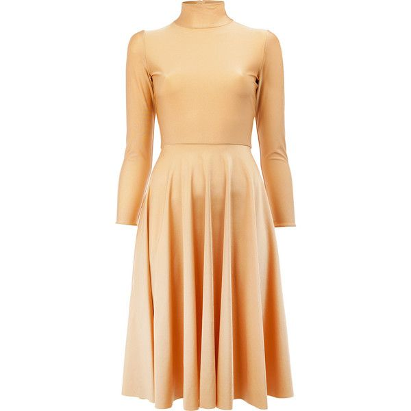 Balenciaga - pleated skirt midi dress - women -... (3.305 BRL) ❤ liked on Polyvore featuring dresses, midi dress, spandex dress, lycra dress, balenciaga dress and nude beige dress