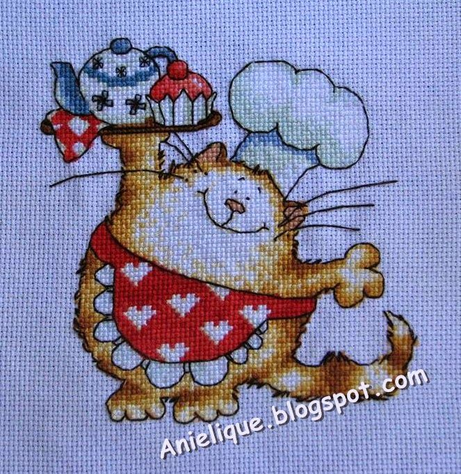 cute, sweet, chef cat, cross stitch