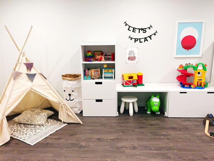 Playroom makeover with IKEA Stuva system.