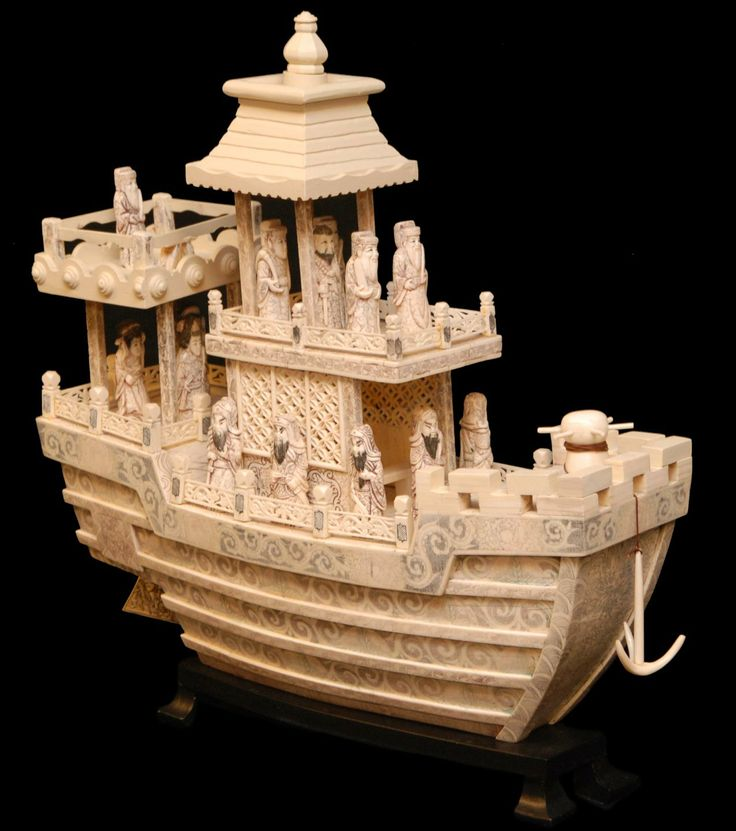 Large chinese hand carved ox bone boat with figures