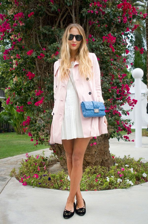 DJ Harley Viera-Newton eschews the normal festival dress code for ladylike pastels and quirky cat slippers