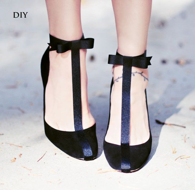 DIY Shoes // Pretty T-Strap Pumps with Ankle Bows