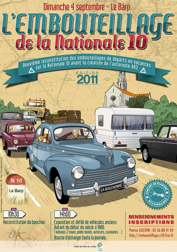 Les illustrations de christophe: L'embouteillage de la Nationale 10 Peugeot 203
