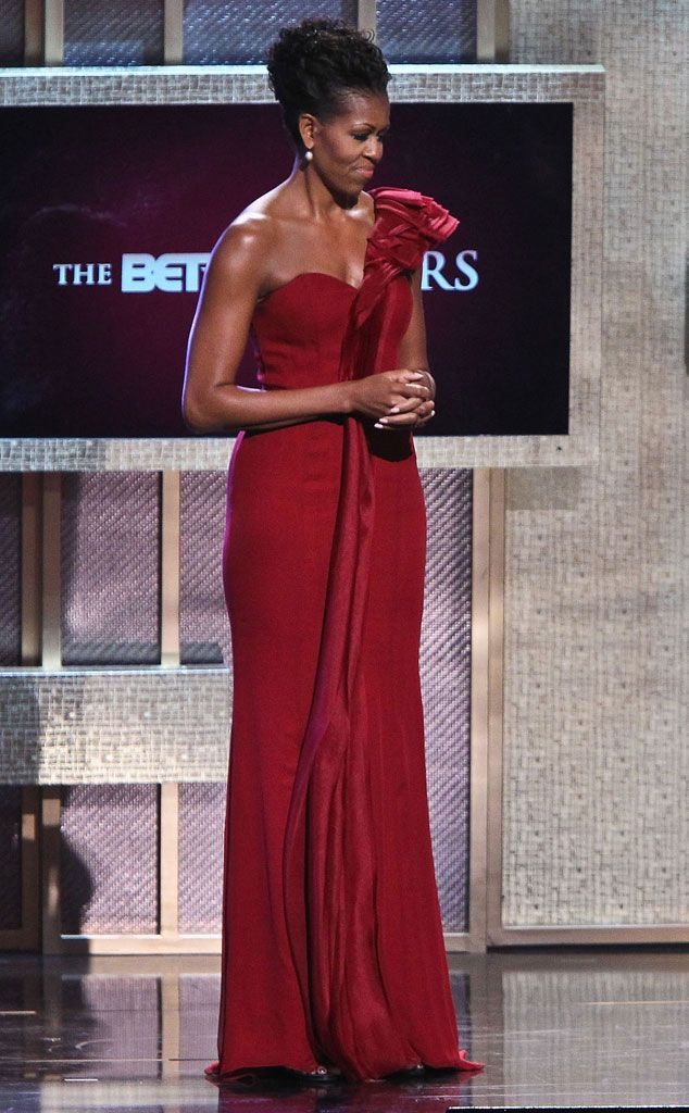 The FLOTUS spoke at the BET Honors in her spotlight-stealing crimson gown. An elegant updo completed her lovely look.