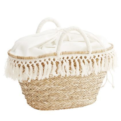 Panier osier Franges blanches