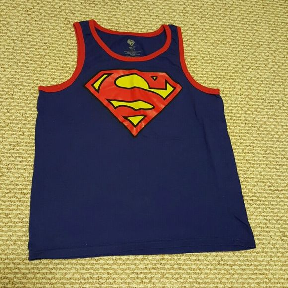 Size M Superman Tank Top Feel like a super hero in this comfy tank. Wear it outside or with your favorite underoos! DC Tops Tank Tops