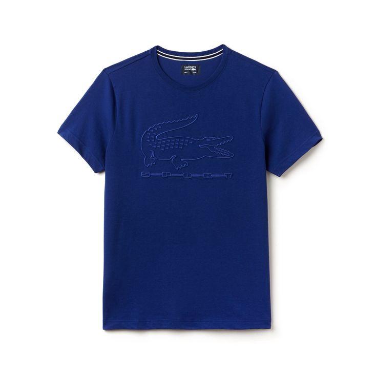 LACOSTE Men's SPORT Tennis Embroidery Tech Jersey T-shirt - varsity blue. #lacoste #cloth #