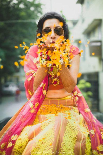 Light Lehengas - Beige Lehenga with Yellow Embroidery and Pink Dupatta and Blouse | WedMeGood#wedmegood #Indianbride #indianwedding #bride #candidshot #lehenga #lightlehenga #pink #lemon