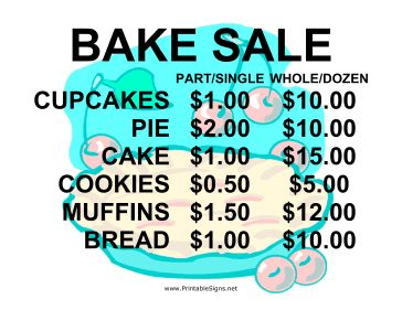 This bake sale sign is bold and cute with a charming pie background. Bake sale prices are included on the sign, making this a dual purpose item. Free to download and print