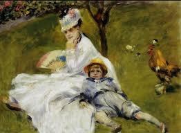 <르누아르_아르장퇴유 정원의 모네 가족> 마네의 작품인 '아르장퇴유 정원의 모네 가족' 과 같은 날 같은 장소에서 그려진 작품이다. 모네는 이 날 마네와 르누아르를 초대하였는데 둘 다 같은 모델과 같은 장소를 배경으로 그림을 그렸다. 이 작품을 마네의 그림과 비교해보면 이 작품은 좀 더 인물중심적으로 그려졌다고 할 수 있다. 마네의 그림에서는 큰 배경안에 인물이 중간에 들어가 있는 것에 비해 이 작품은 인물이 그림을 꽉 채우고 있다. 그리고, 카미유가 입고 있는 옷의 질감이라던지 행동들에 더 초점을 맞춘 것 같다.