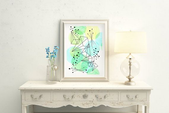 Triangles Geometry Watercolor and Pencil by LittleLotusFlowers