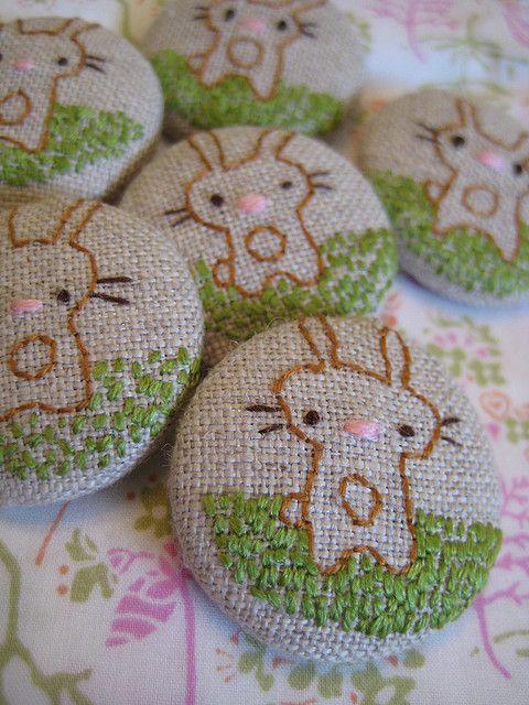 embroidered button swap - bunnies by cathygaubert, via Flickr