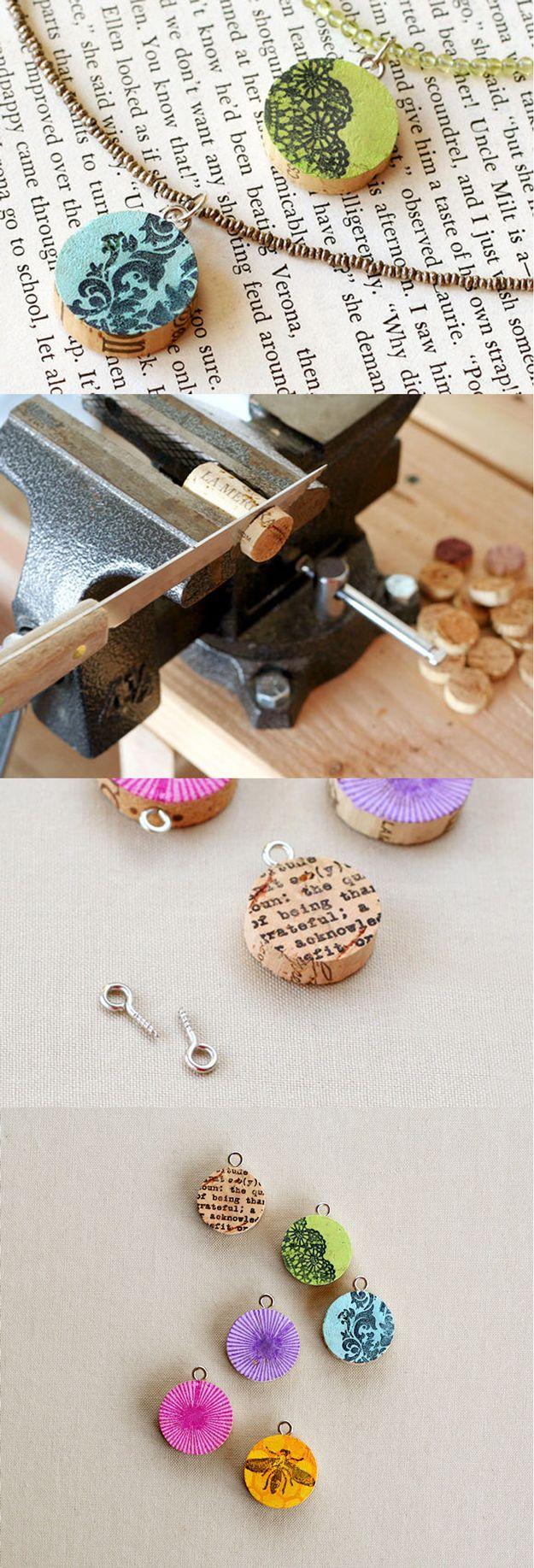 DIY Jewelry Ideas: Easy Wine Cork Pendants | DIY Wine Cork Jewelry for Teens by DIY Ready at http://diyready.com/more-wine-cork-crafts-ideas/