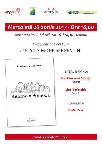 Teramo Ritorno a Spinoza di Elso Simone Serpentini: mercoledì 26 Aprile la presentazione