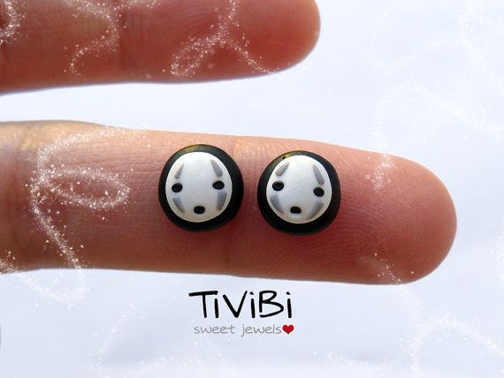 No face Spirited Away Studio Ghibli jewelry post por TiViBi en Etsy