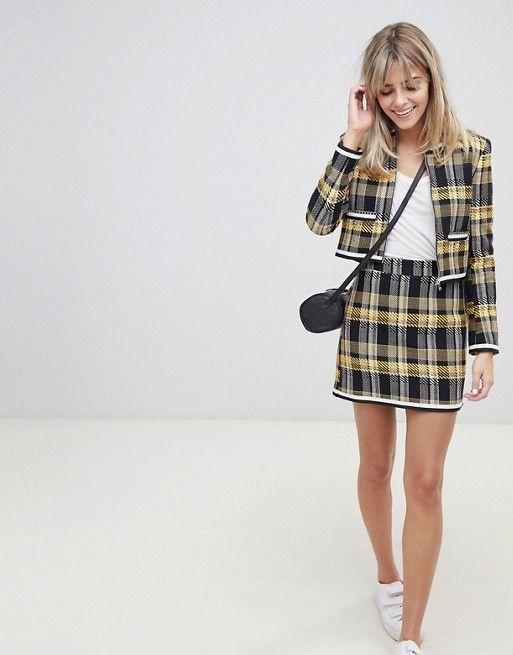 f8f2dde0de ASOS DESIGN   ASOS DESIGN yellow check boucle mini skirt with chain detail