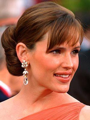 Jennifer Garner updo with bangs