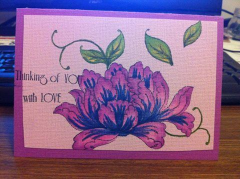 variation on the lotus blossom Make and Take Tag using different colours and putting it onto a card