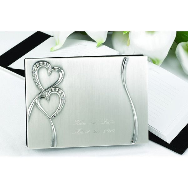 Personalized Rhinestone Hearts Guest Book