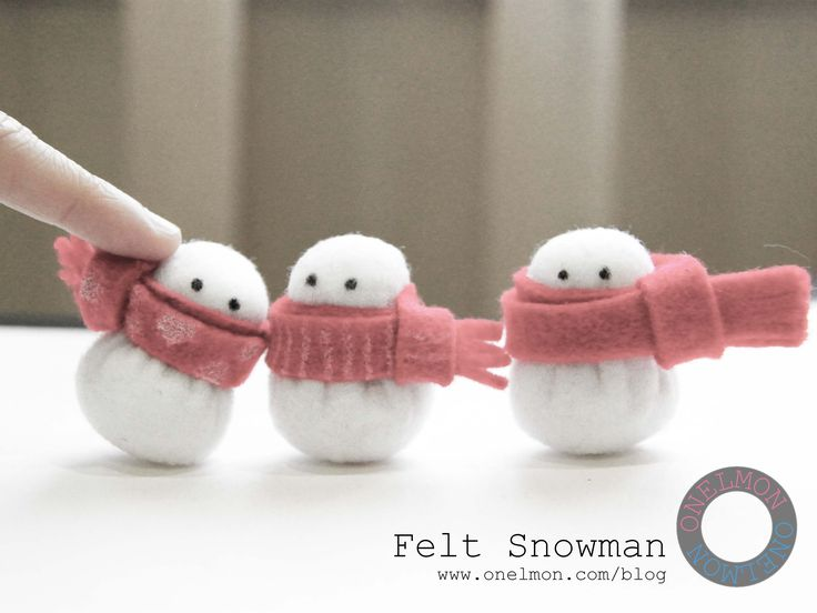 DIY Mini Felt Snowman Tutorial...you could make them as ornaments or put them on packages. So sweet, love them!