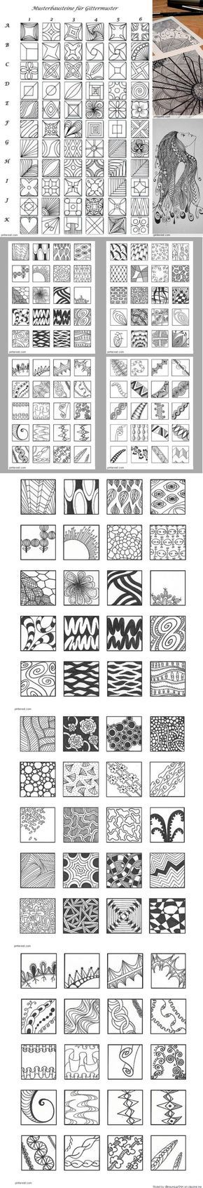 Creative Doodling: a Ton of Zentangle Patterns. Zendoodle Doodle Art Tangle patterns Pen & Ink drawing