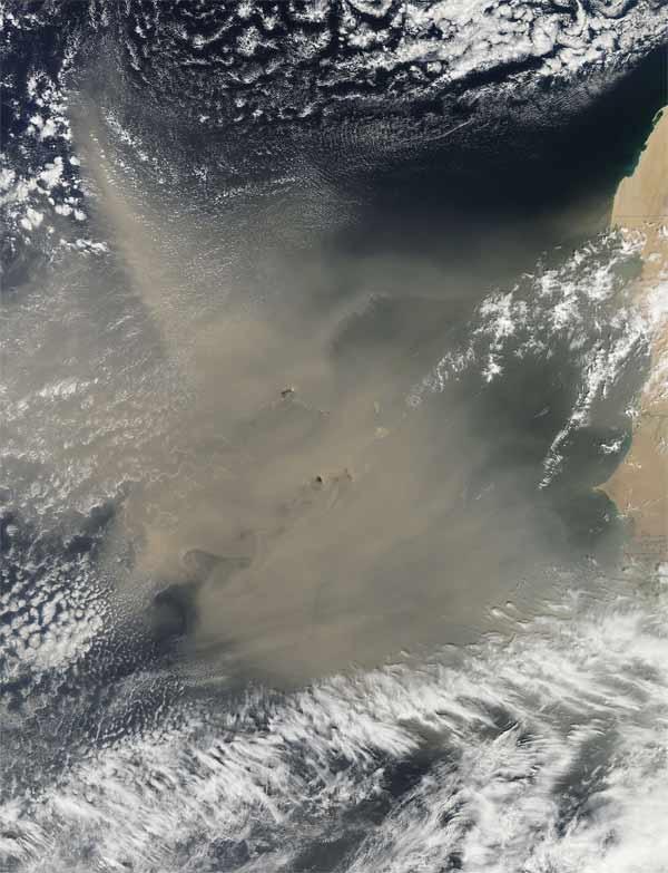 satellite image of huge dust cloud off western africa...
