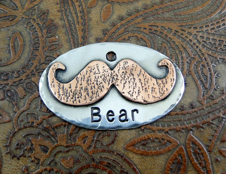 Handmade Mustache Dog ID Tag-Personalized Dog Collar Tag, Pet ID Tag-Custom Mustache Dog Collar ID Tag by IslandTopCustomTags on Etsy https://www.etsy.com/listing/247124630/handmade-mustache-dog-id-tag