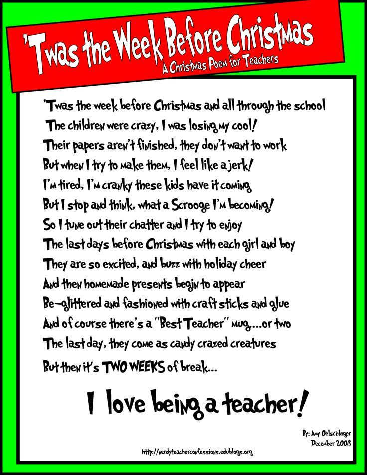 Twas the Week Before Christmas - A poem for teachers: