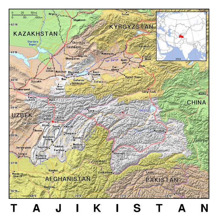 Political map of Tajikistan with relief