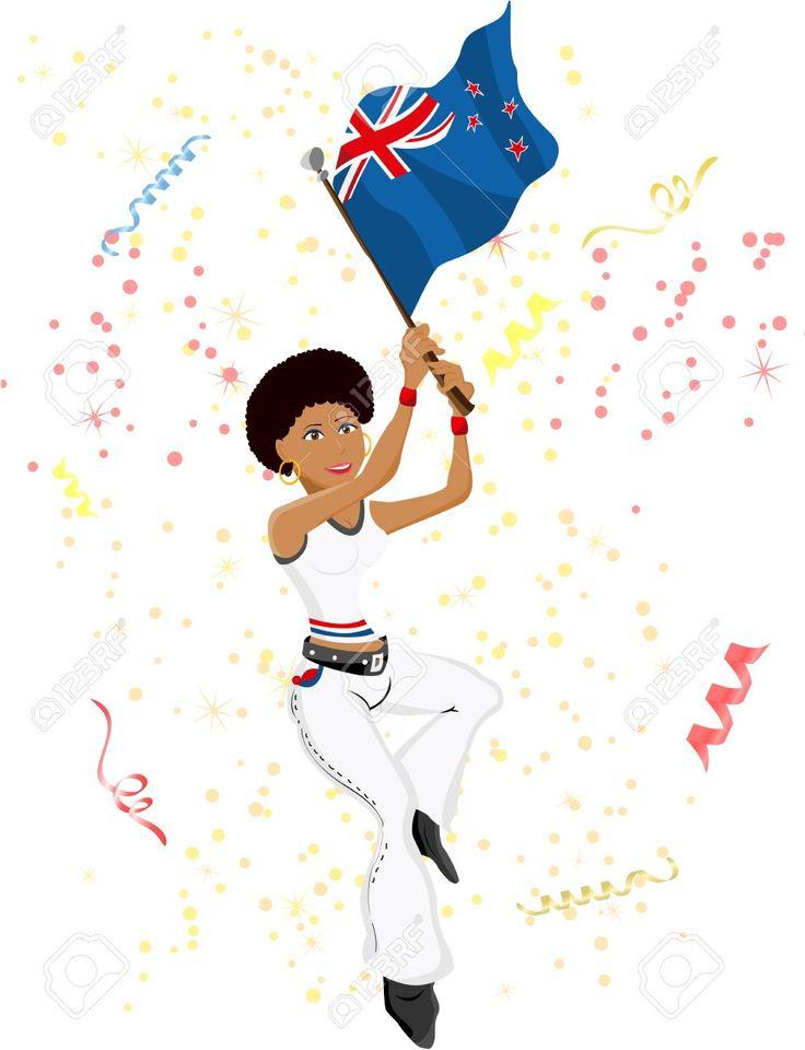Mujer apoya al equipo de Nueva Zelanda (de fútbol, de otro deporte o evento). Agita la bandera.