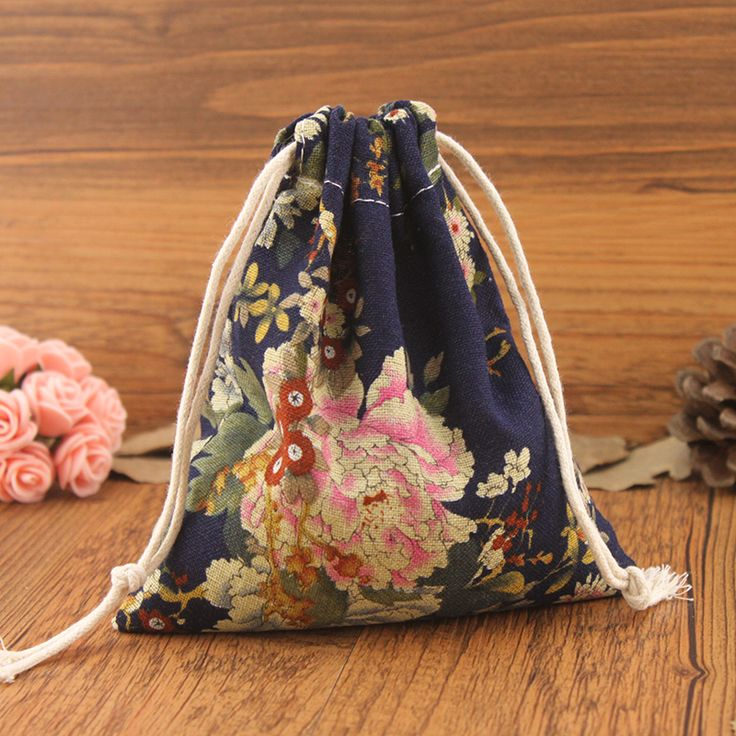 Navy Blue Cotton Drawstring Bag for Home Organization / Peony Small Storage Bags for Cable Perfume Cosmetics Keys Dried Foods
