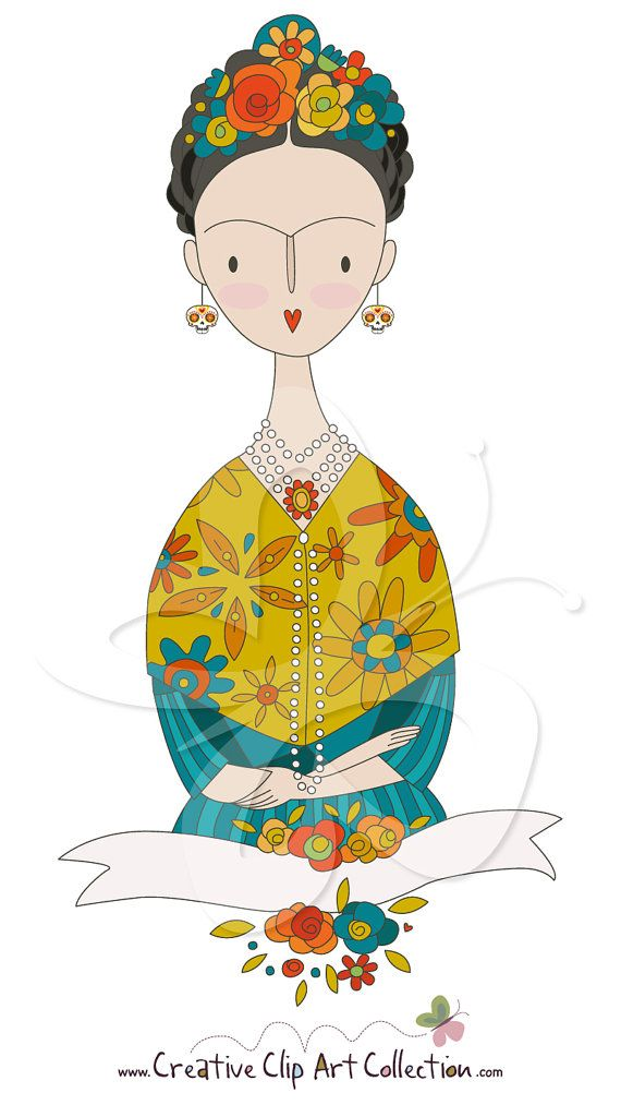 Frida Kahlo Banner Digital Clip Art Clipart by CollectiveCreation, $4.00