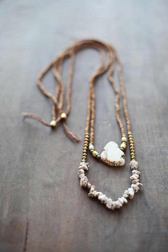 SALE 25% OFF / Mixed Media Boho Necklace /  Beige - Golden - Brown Necklace /  Gemstone Necklace / Beige Brown Nekclace / Magnesite Necklace