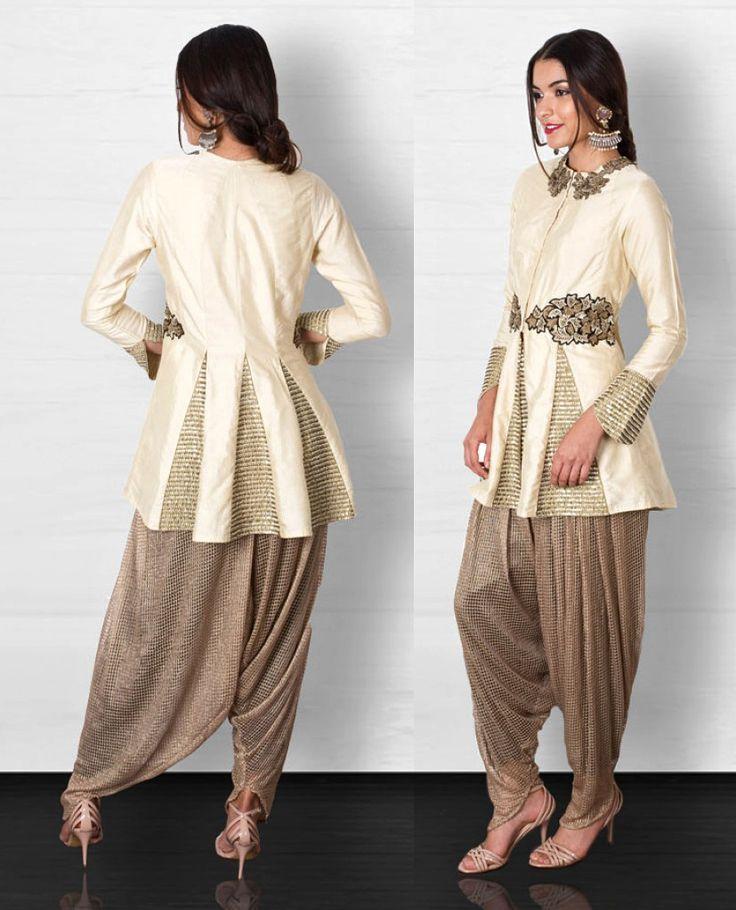 Ridhima Bhasin Ivory Jacket & Gold Dhoti