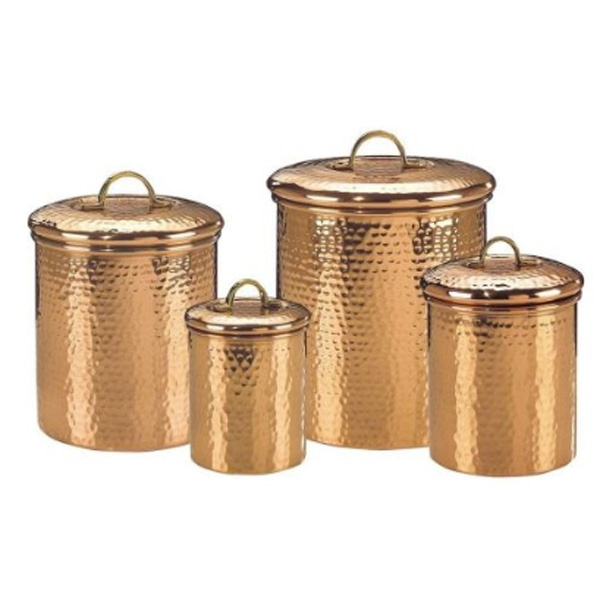 Old Dutch Hammered 4 Piece Canister Set In Copper