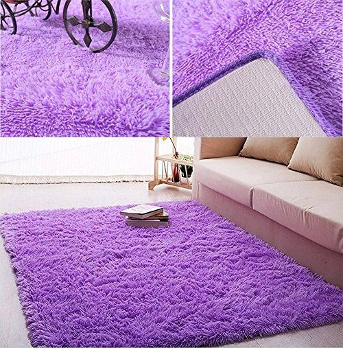 Cyber Super Soft Indoor Modern Shag Area Silky Smooth Rugs Fluffy Rugs Anti-Skid Shaggy Area Rug Dining Room Home Bedroom Carpet Floor Mat 4- Feet By 5- Feet (Purple)