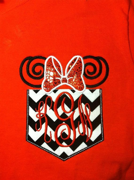 Short Sleeve Chevron Pocket tee Mickey or Minnie swirl ear smaller monogram tee -great for Disney trips- family shirts available on Etsy, $25.00