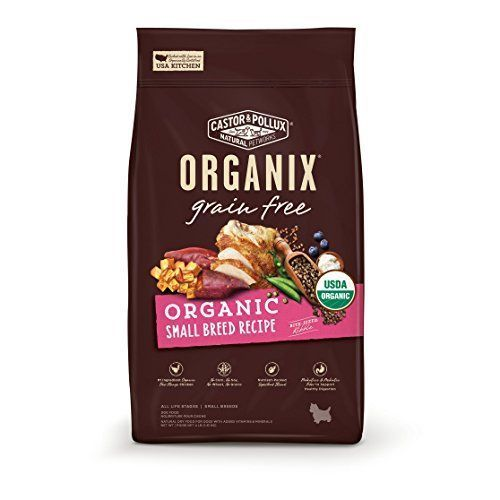Castor & Pollux Organix Grain Free Organic Small Breed Recipe Recipe Dry Dog Food 4lbs - America's #1 organic dog food brand, Organix, is the only complete line of USDA organically certified dog food. All Organix recipes are made with organic, free-range chicken or turkey as the #1 ingredient. There are no chemical pesticides, synthetic fertilizers, artificial preservatives, added gr...