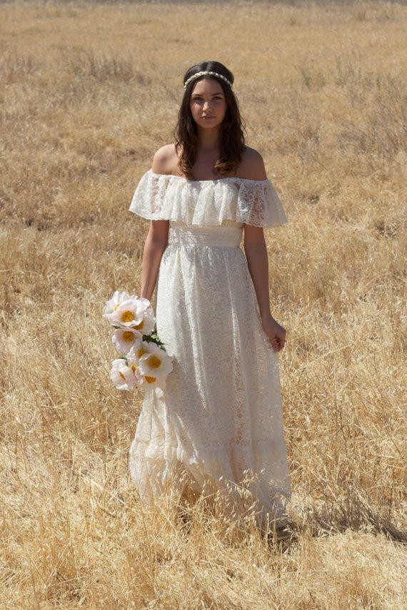 Off The Shoulder Ivory Vintage Wedding Dresses Lace