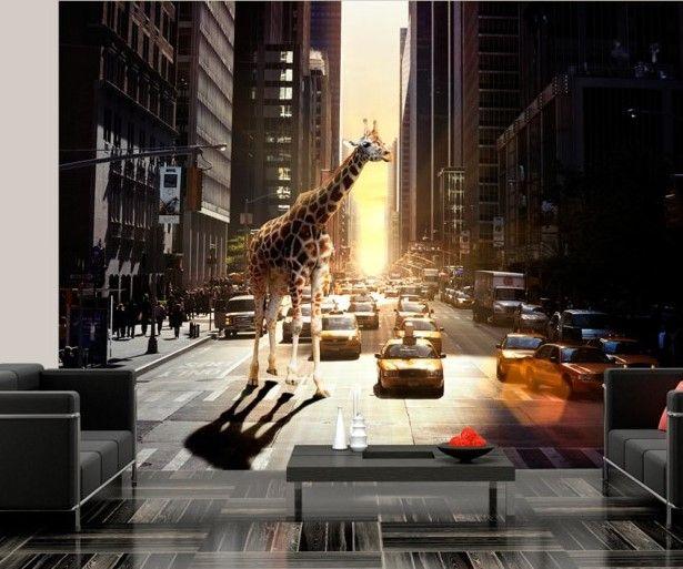 New York - Upper East Side, taxis jaunes et... girafe ! Décoration murale inspirée de grande métropole sera un accent original dans votre intérieur #papierspeints #papierpeint #girafe #urbanstyle #villearchitecture #newyork #bimago #décorations